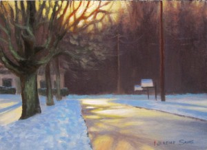 Evening Light on Hattie St. 6x8 acrylic en plein air