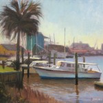 Plein air Painting on Restaurant Row at the old yacht harbor in Southport, NC by North Carolina artist Jeremy Sams
