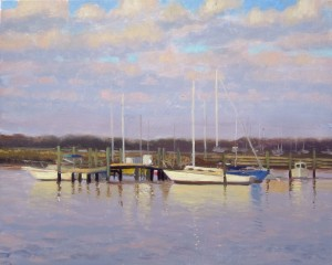 Early morning face lit plein air painting of boats in the harbor, 8x10 acrylic