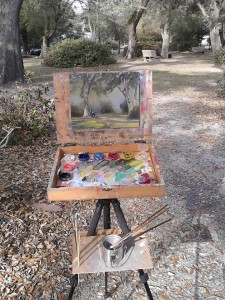 Plein air painting at Franklin Square Park in Southport, NC.