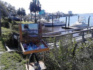 Painting on Restaurant Row at the old yacht harbor