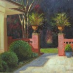 Charlotte garden tour plein air painting queens rd. by North Carolina artist, Jeremy Sams