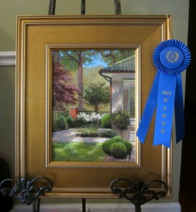 1 st place Charlotte garden tour plein air painting queens rd. by North Carolina artist, Jeremy Sams