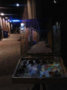 Nocturne plein air painting of the Boiler Room in Kinston by North Carolina artist Jeremy Sams