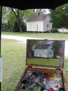 plein air painting in Kinston by North Carolina artist Jeremy Sams