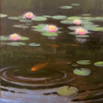 Koi pond plein air painting in Kinston by North Carolina artist Jeremy Sams