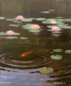 Koi pond plein air painting in Kinston by North Carolina artist Jeremy Sams