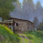 farm and barns woodshed Burnsville plein air painting by North Carolina artist Jeremy Sams