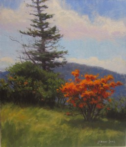 plein air painting of Flame azaleas on Roan Mountain by North Carolina artist Jeremy Sams