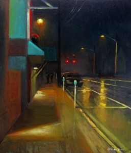 nocturne plein air painting of King Street in Boone NC, by North Carolina artist Jeremy Sams