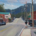 Plein air painting of student walking on Howard Street Boone NC by North Carolina artist Jeremy Sams