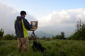 North Carolina artist Jeremy Sams Plein air painting on Roan Mountain