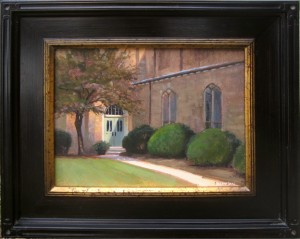 plein air painting of First Presbyterian Church High Point during Piedmont Paintout by North Carolina artist Jeremy Sams