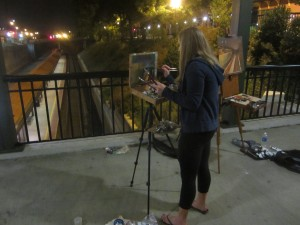HPU student Alicia Miller painting a nocturne