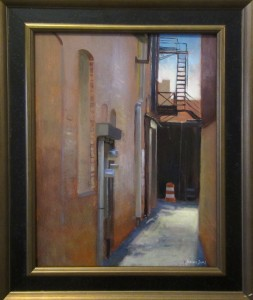 plein air painting of alley at Piedmont Paintout High Point NC by artist Jeremy Sams