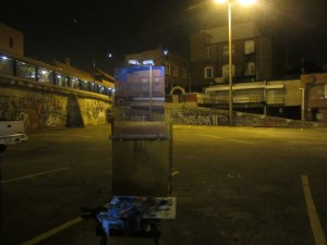 """My plein air set up for painting nocturnes at """"the Pit"""""""