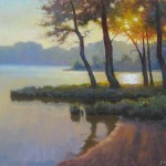 High Point city lake painted in the morning en plein air