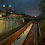 Viewers Choice award for plein air painting of High Point Train Depot nocturne by North Carolina artist Jeremy Sams