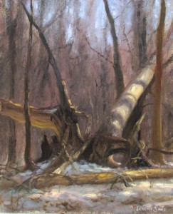 plein air painting of fallen trees in snow by North Carolina artist Jeremy Sams