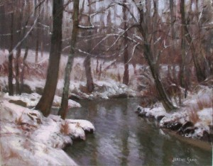plein air painting of a creek in the snow by North Carolina artist Jeremy Sams
