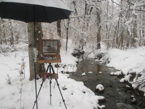 plein air set up for snow painting