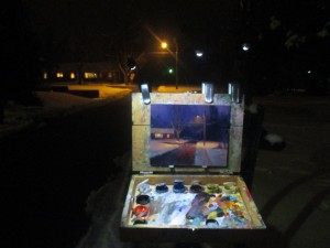 Plein air painting at night nocturne looking down David St. by North Carolina artist Jeremy Sams