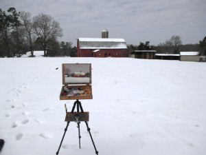 plein air painting a red barn in the snow by North Carolina artist Jeremy Sams