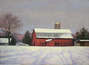 Plein air painting of the Farlow barn in the snow by North Carolina artist Jeremy Sams