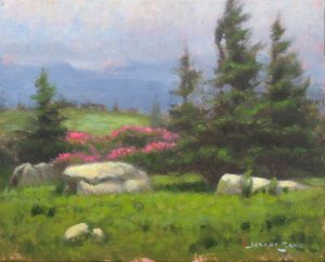 original plein air painting of Grassy Ridge on the Roan Highlands by North Carolina artist Jeremy Sams