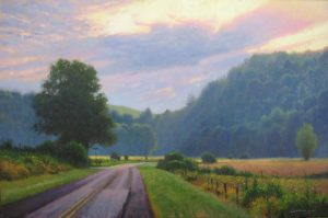 acrylic landscape painting Fleetwood, NC by North Carolina artist Jeremy Sams