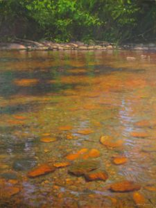 original acrylic painting of New River near west Jefferson, NC by North Carolina artist, Jeremy Sams