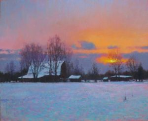 original snow landscape painting of sunrise sunset by North Carolina artist Jeremy Sams