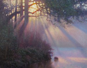 original acrylic landscape painting of sunbeams shining through trees and water by North Carolina artist Jeremy Sams