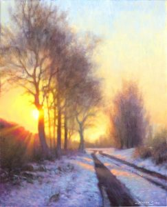 painting of light shining through trees in the snow