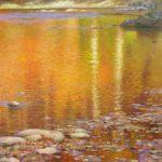 painting of the Oconaluftee River in Cherokee, North Carolina