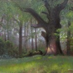 old oak tree plein air painting by North Carolina artist Jeremy Sams