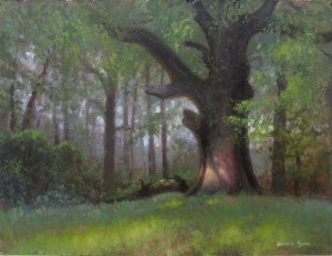 old oak tree plein air painting by North Carolina artist Jeremy Sams