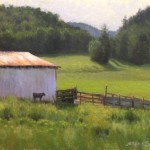 plein air painting of barn and calf in mountains of NC by North Carolina artist Jeremy Sams