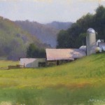 plein air painting of Cooper farm barns Ashe County NC by North Carolina artist Jeremy Sams