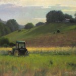 plein air painting of tractor and mountains by North Carolina artist Jeremy Sams