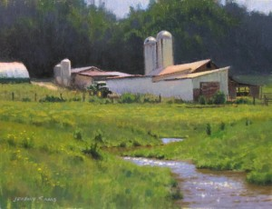 plein air painting of Ashe County farm by North Carolina artist Jeremy Sams