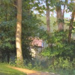 plein air painting of the walking trail at Reynolda Village in Winston Salem by North Carolina artist, Jeremy Sams