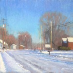 plein air painting of snow landscape by North Carolina artist Jeremy Sams