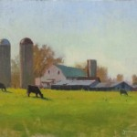 barn farm plein air painting by North Carolina artist Jeremy Sams