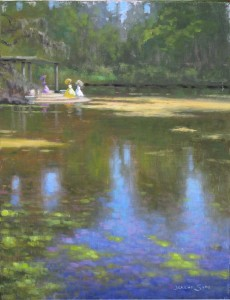 plein air painting in Wilmington, NC of azalea belles at lake at Airlie Gardens by North Carolina artist Jeremy Sams