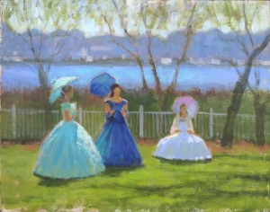 plein air painting in Wilmington, NC of azalea belles at Carolina Beach garden club tour by North Carolina artist Jeremy Sams