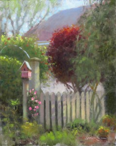 plein air painting in Wilmington, NC of garden club tour by North Carolina artist Jeremy Sams