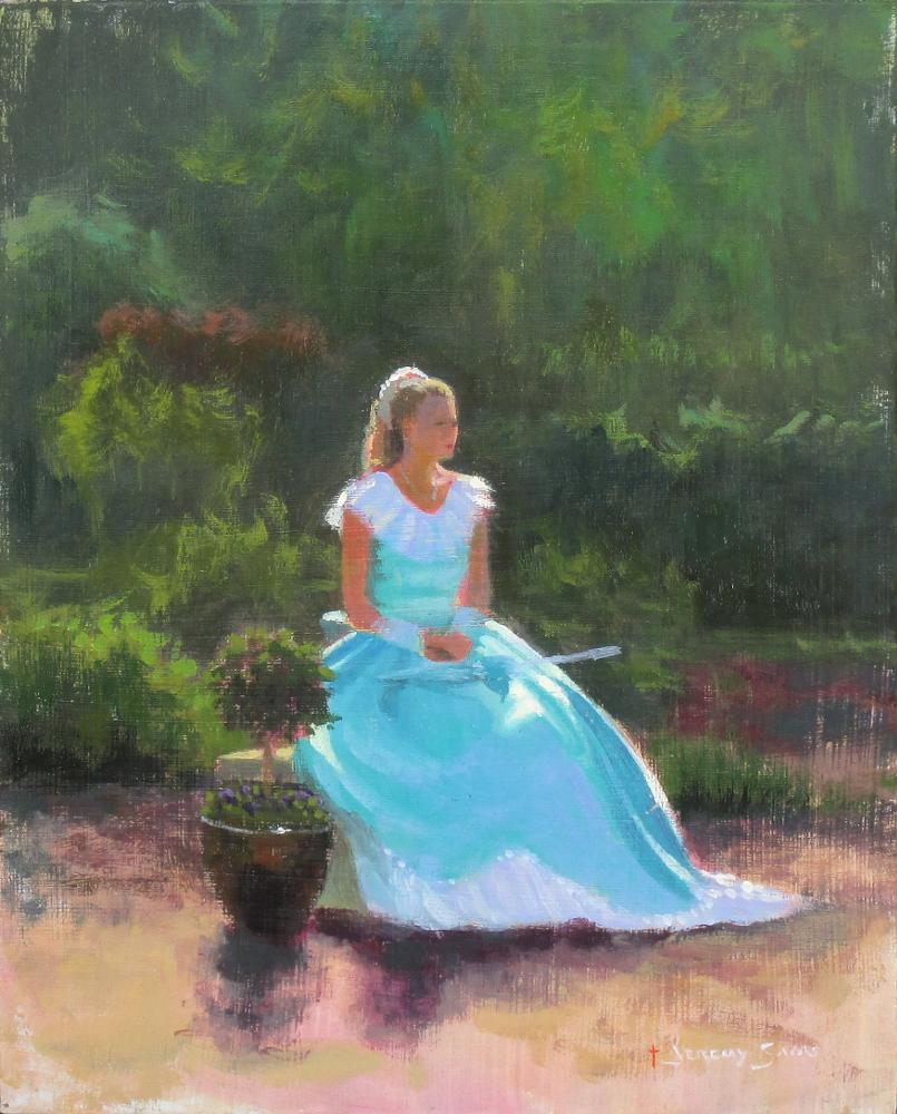 plein air portrait painting in Wilmington, NC of garden club tour by North Carolina artist Jeremy Sams