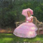 plein air portrait painting in Wilmington, NC of garden club tour by North Carolina artist Jeremy Sams