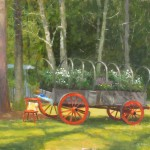 plein air painting in Wilmington, NC of wagon at the horse farm in garden club tour by North Carolina artist Jeremy Sams